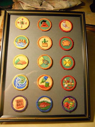 Girl Scout Merit Badges turned art