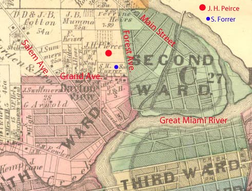 Location of Five Oaks, 1875