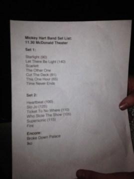 Mickey Hart Band Setlist  in Eugene 11.30.2011 Photo by @wajiii