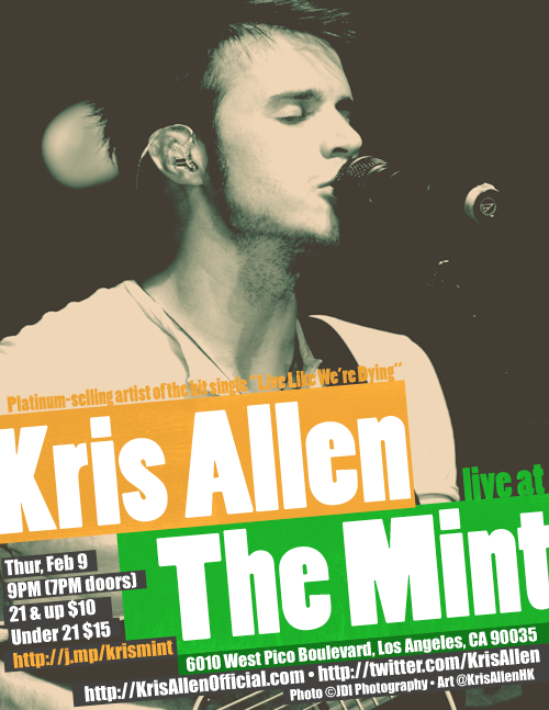 Kris Allen live at The Mint LA concert poster flyer