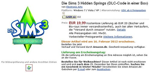 Hidden Springs Box Pre-Order via Amazon France and Germany