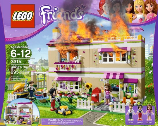 "Uh oh the LEGO ""Friends"" house is on fire! Now what?"