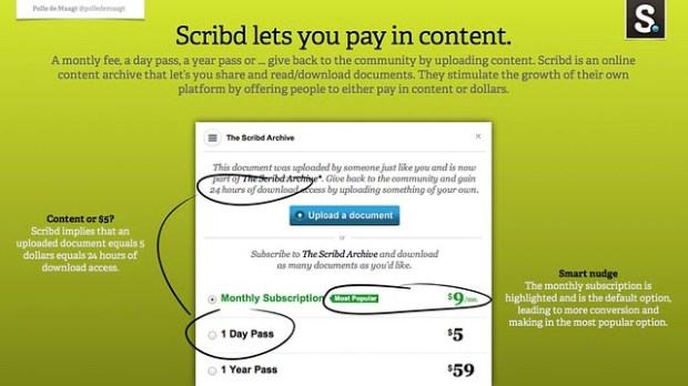 Scribd lets you pay in content