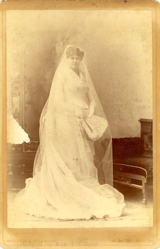 Mary Frances (HARSH) Peirce on her wedding day, 1885