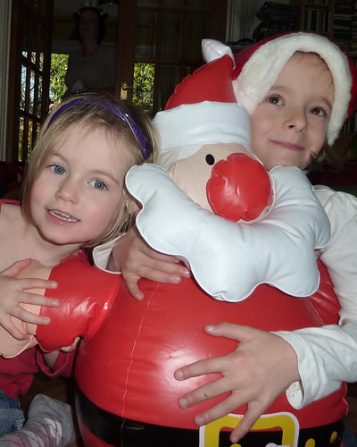 Millie, Amber and Inflatable Santa