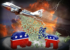 Citizens United Carpet Bombing Democracy - Cartoon