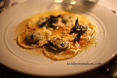 Traditional Handmade Ravioli with Spinach, Parmigiano Reggiano, Gruyere, Buffalo Mozzarella, Burnt Butter and Sage @ Pendolino