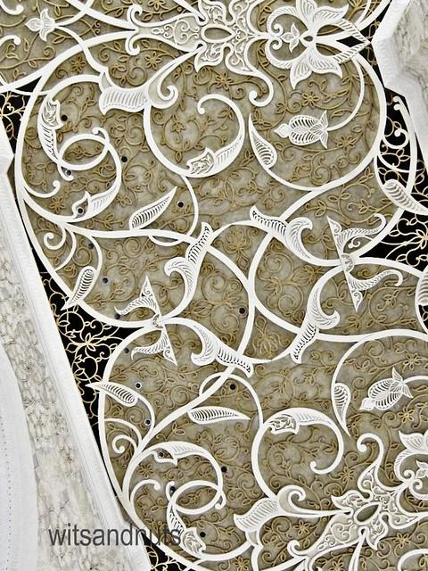 Intricate ceiling in Sheikh Zayed Grand Mosque, Abu Dhabi, UAE
