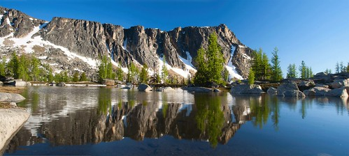 Amphitheater Mountain Reflected in a snow melt pond, Pasayten Wilderness by i8seattle