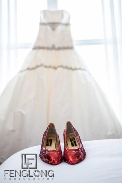 Wedding Dress & Shoes | Elizabeth & Greg's Wedding | Hilton Marietta Hotel & Transfiguration Catholic Church | Marietta Atlanta Wedding Photographer
