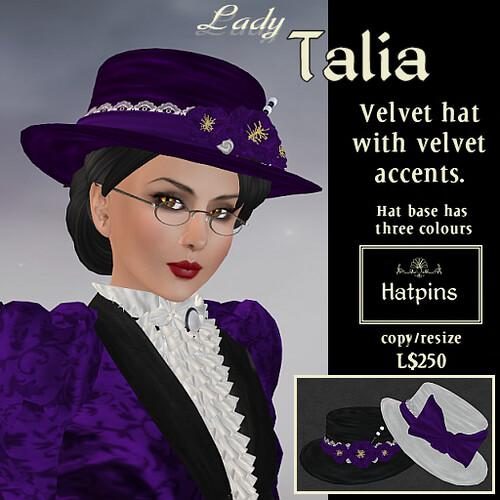 Hatpins - Lady Talia Velvet Hat - Purple