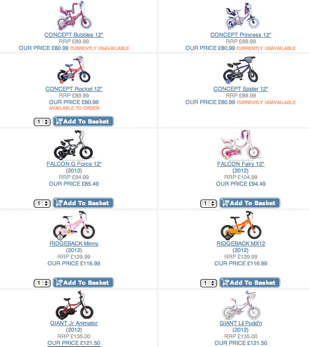 Screenshot from cyclecentreuk.co.uk showing kids' bikes with girls' all pink.