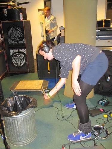 Metal bin as a drum