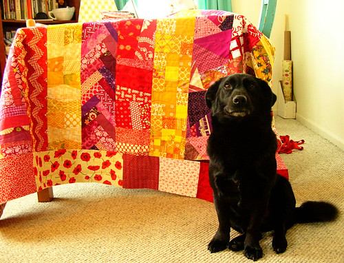 Simon Helping with the Quilting