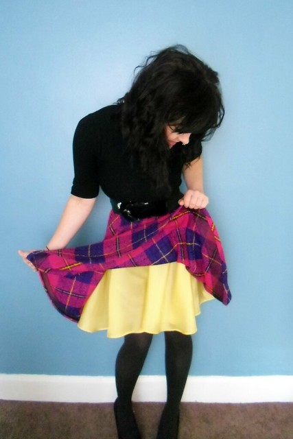 plaid circle skirt - lining!