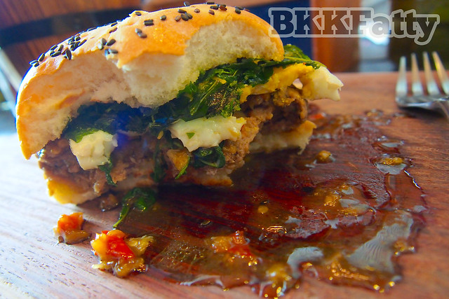 thai style burger cross section at firehouse bangkok