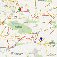 09. Bike Route Map. Etra Lake Park, Hightstown, NJ