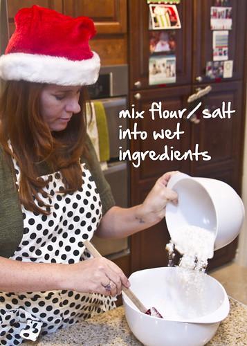 mix flour into wet ingredients