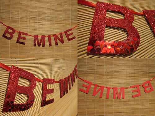 Be Mine Glitter Heart Ombre Banner Quad