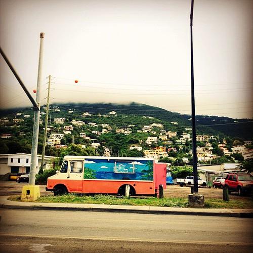 Colorful #van by the waterfront.... #hills #caribbean #virginislands #stt