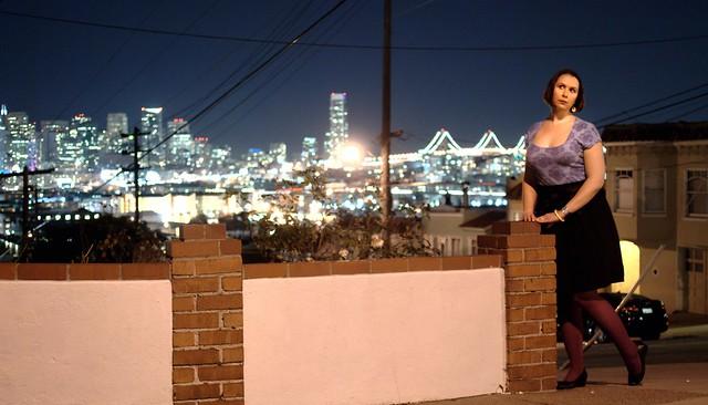 Wearing TARDamask on a San Francisco night
