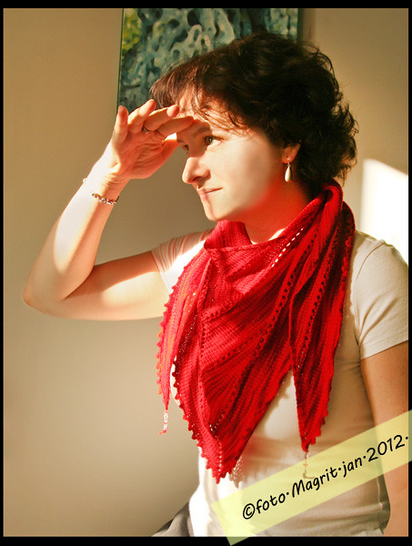 red triangular scarf on me
