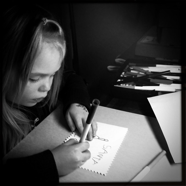 sadie making santa card