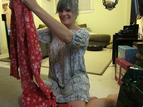 Me Opening my Christmas Pajamas