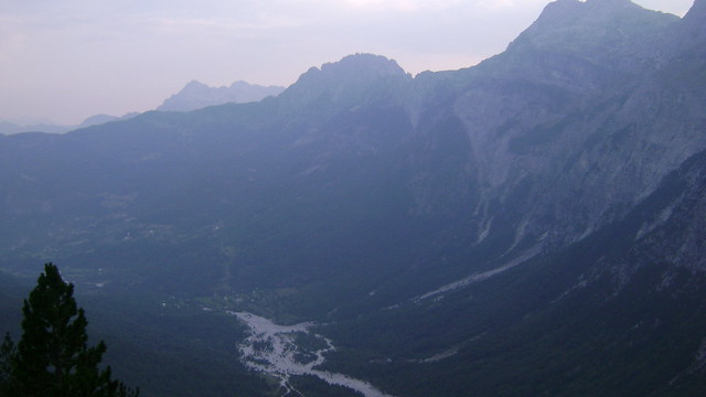 Thethi as seen from Peja pass in the evening