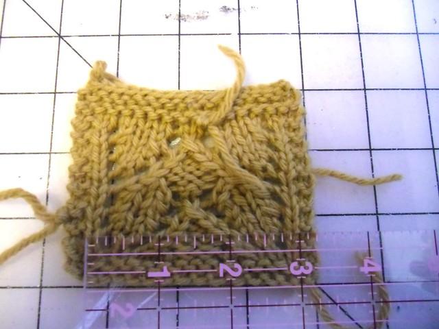 knit swatch, finally got gauge!