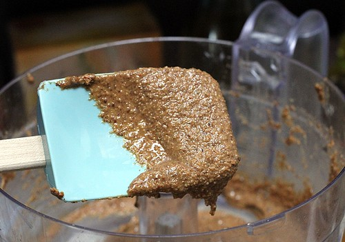 Homemade Roasted Almond Butter on a spatula