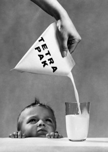 Tetra Classic®: Boy with Tetra Pak® package, 1950s.