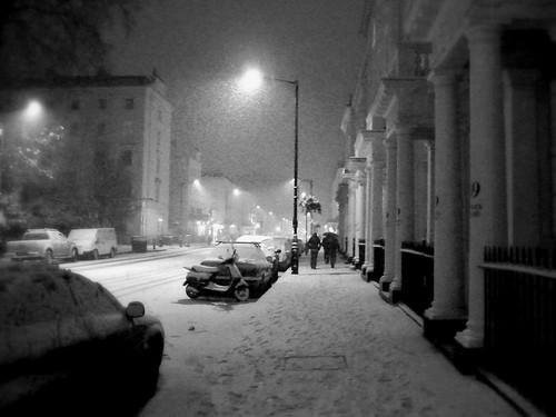 Snow falling on London - February.