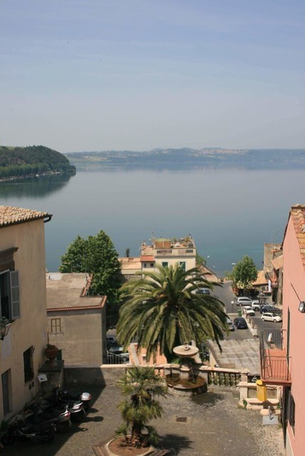 View over the main square and lake Bracciano from the registry office window
