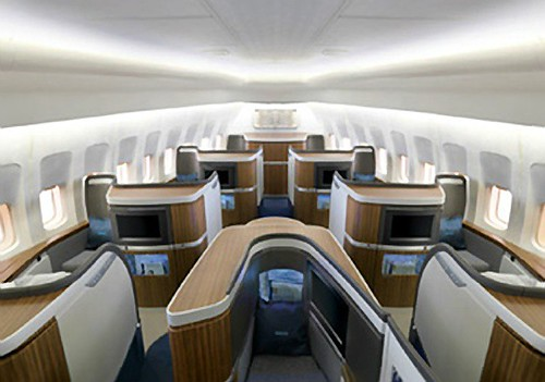 View of the B747 First Class Cabin from behind by bloompy