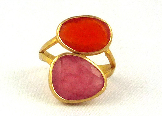 Carnelian _ Rhodochrosite Double Greek Ring