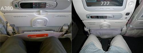 Emirates A380 vs 777 Coach Legroom