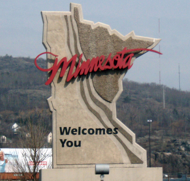 Welcome To Minnesota sign in Duluth