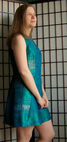 Finished silk dress, side view