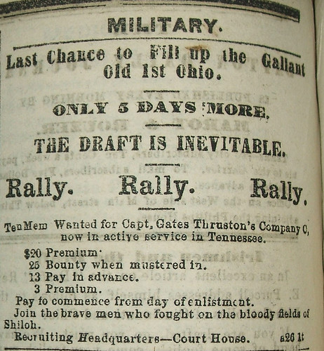 Recruitment Ad for 1st O.V.I., Dayton Journal, Aug. 29, 1862