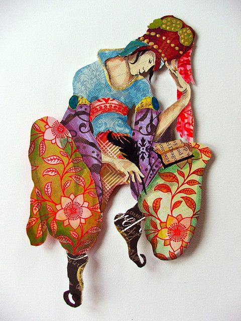 gypsy poet...cut paper assemblage