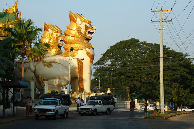 Two huge lions guarding the East gate of Swedagon Pagoda - Yangon
