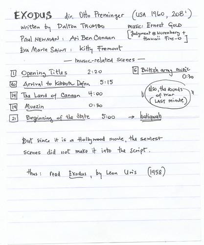Exodus (USA 1960): List of relevant musical scenes
