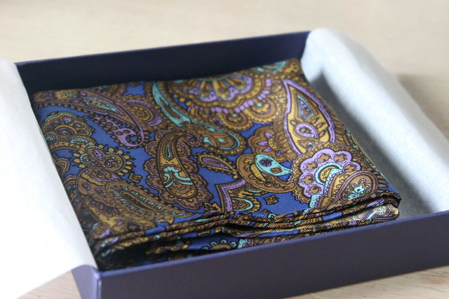 cobalt blue paisley silk scarf