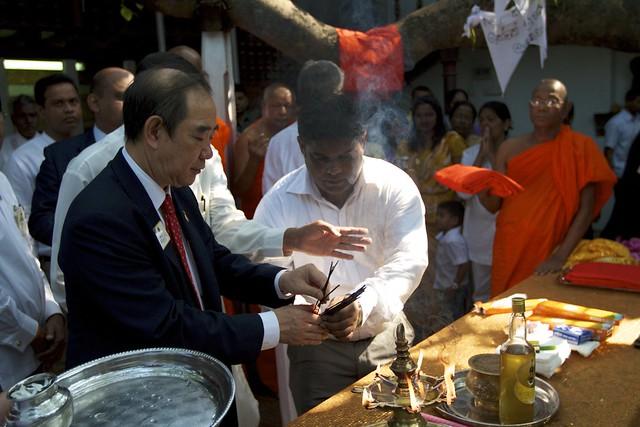 President of Lion's Club international lighting incense