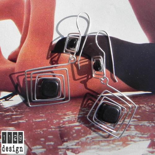 NANEWI orecchini argento wire onice nero black onyx square handmade earrings 1129design