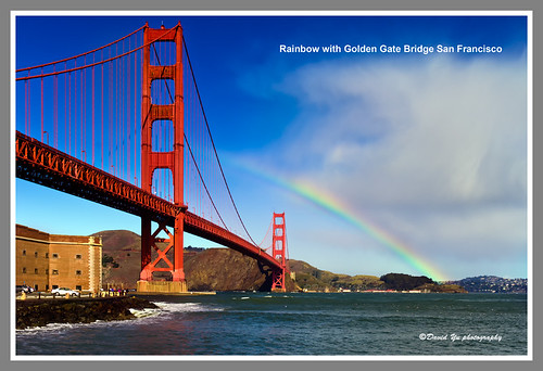 Rainbow with Golden Gate Bridge San Francisco by davidyuweb
