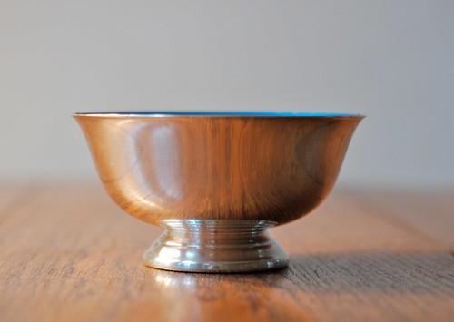 vintage enameled silver bowl