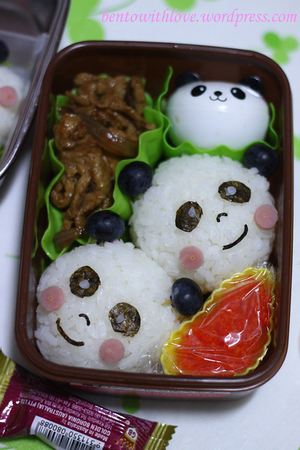 Daddy, Mummy and Baby Panda Bento