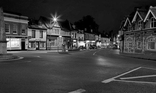 Night photography in a village centre